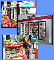 Commercial refrigeration equipment (reach-in and walk-in coolers and freezers, merchandisers, display cases) for food markets.